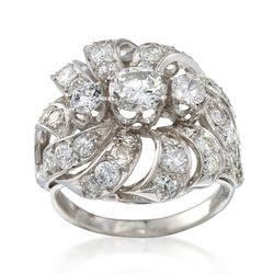 C. 1950 Vintage 2.65 ct. t.w. Diamond Swirl Cluster Ring in Platinum. Size 6.75, , default