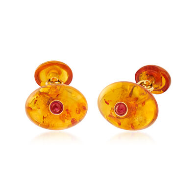 C. 1970 Vintage Amber and .80 ct. t.w. Ruby Cuff Links in 18kt Yellow Gold, , default