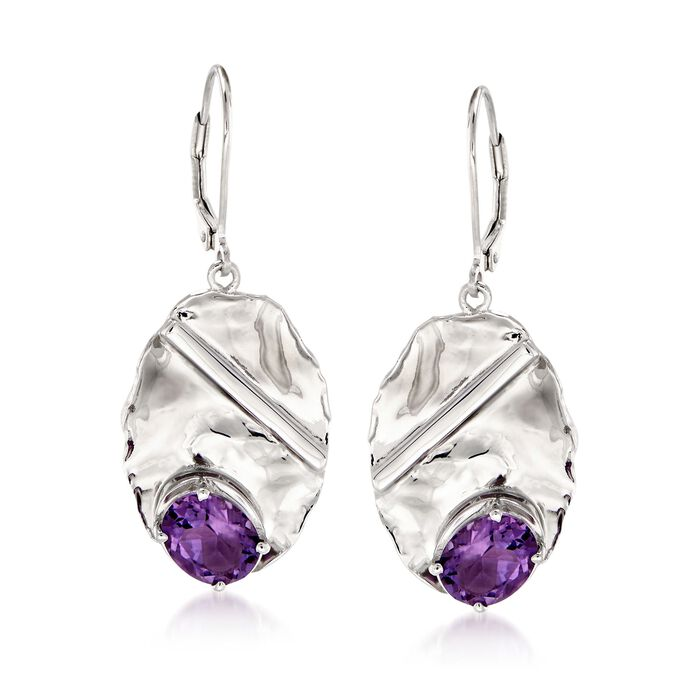 3.30 ct. t.w. Amethyst and Sterling Silver Oval Drop Earrings , , default