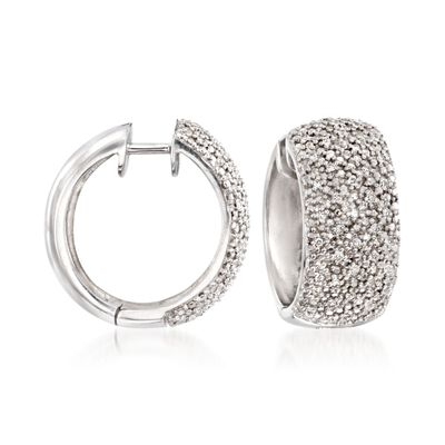 .24 ct. t.w. Diamond Hoop Earrings in Sterling Silver, , default