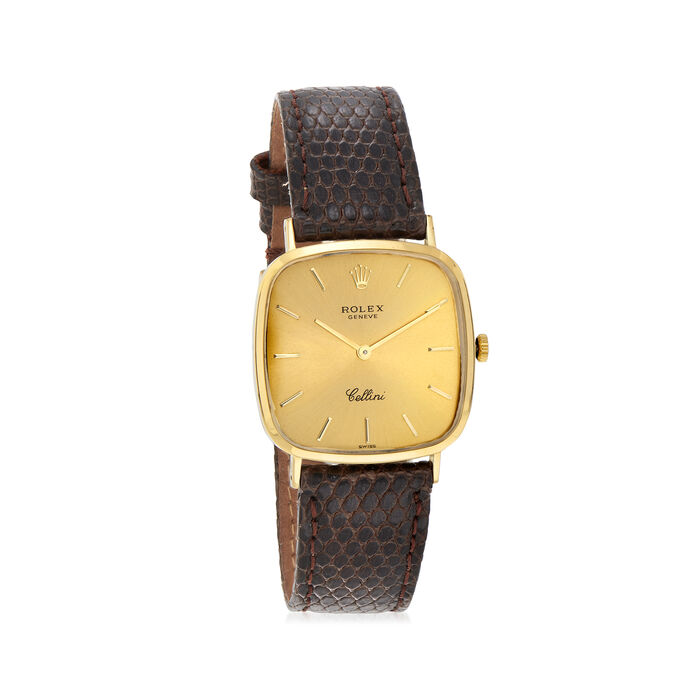 C. 1990 Vintage Rolex Cellini Men's 18mm Manual 18kt Yellow Gold Watch with Brown Leather. Size 9