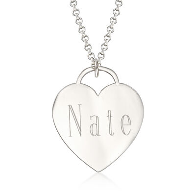 Sterling Silver Personalized Name Heart Pendant Necklace, , default