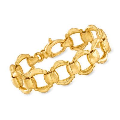 Italian Andiamo 14kt Gold Over Resin Link Bracelet, , default