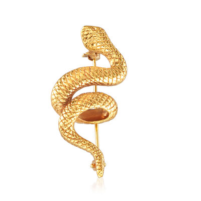 Italian 18kt Yellow Gold Snake Pin, , default