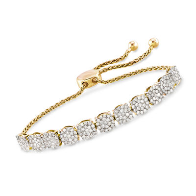 2.00 ct. t.w. Diamond Cluster Bolo Bracelet in 18kt Gold Over Sterling, , default