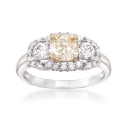 1.76 ct. t.w. Certified Fancy Yellow and White Diamond Engagement Ring in 18kt Two-Tone Gold, , default