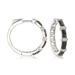 .50 ct. t.w. Black Spinel and .10 ct. t.w. White Zircon Hoop Earrings in Sterling Silver, , default