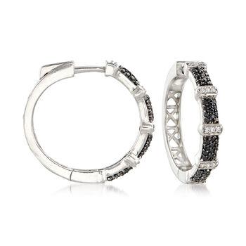 ".50 ct. t.w. Black Spinel and .10 ct. t.w. White Zircon Hoop Earrings in Sterling Silver. 7/8"", , default"