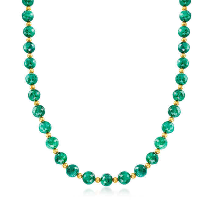 210.00 ct. t.w. Emerald Bead Necklace in 14kt Yellow Gold