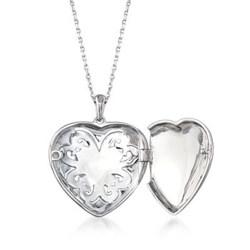 Sterling Silver Scrolled Heart Locket Necklace with Diamond Accents. 16""