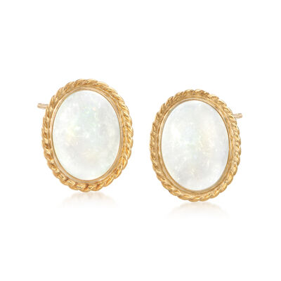 Oval Opal Roped Stud Earrings in 14kt Yellow Gold, , default