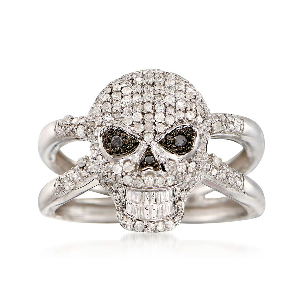 50 Ct T W Black And White Diamond Skull Ring In Sterling Silver Ross Simons