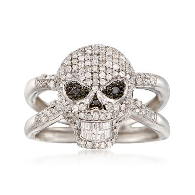 .50 ct. t.w. Black and White Diamond Skull Ring in Sterling Silver