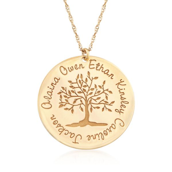 14kt Yellow Gold Personalized Family Tree Pendant Necklace. #875770
