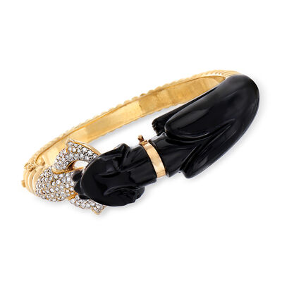 C. 1980 Vintage Black Onyx and 1.75 ct. t.w. Diamond Panther Bangle Bracelet in 18kt Yellow Gold