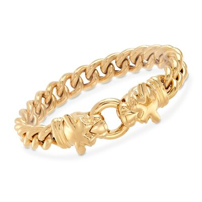 Italian 18kt Gold Over Sterling Double Panther Head Bracelet, , default