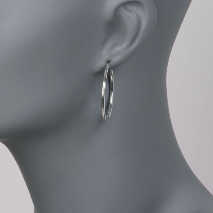 Roberto Coin 18kt White Gold Hoop Earrings