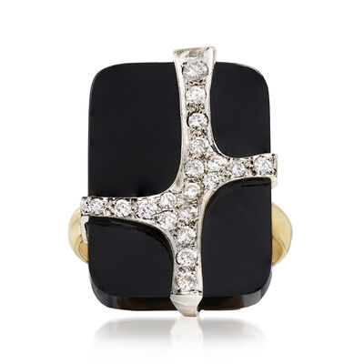 C. 1970 Vintage Black Onyx and .50 ct. t.w. Diamond Ring in 14kt Yellow Gold, , default