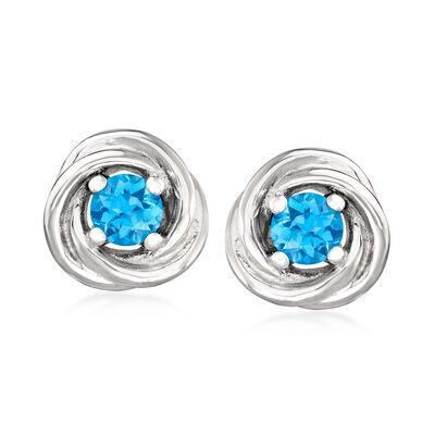1.20 ct. t.w. Swiss Blue Topaz Twist Earrings in Sterling Silver