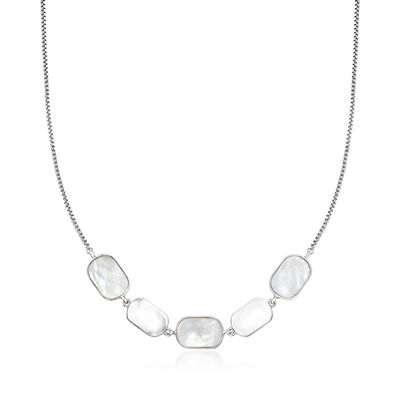 White Mother-Of-Pearl Necklace in Sterling Silver, , default