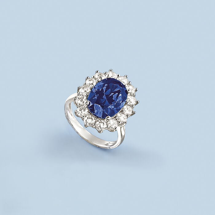 Simulated Sapphire and 1.80 ct. t.w. CZ Ring in Sterling Silver