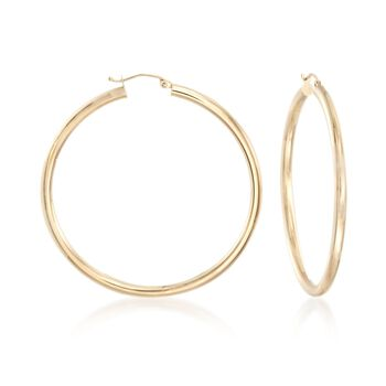 "3mm 14kt Yellow Gold Large Hoop Earrings. 2"", , default"