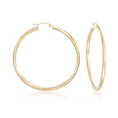 3mm 14kt Yellow Gold Large Hoop Earrings, , default