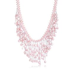 "4-7.5mm Pink Cultured Pearl Fringe Necklace With Sterling Silver. 18"", , default"