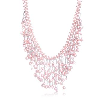 """4-7.5mm Pink Cultured Pearl Fringe Necklace With Sterling Silver. 18"""", , default"""