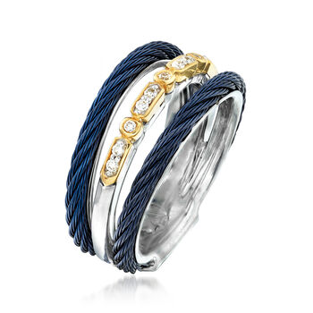 "ALOR ""Classique"" Multi-Row Blue Stainless Steel Ring with Diamond Accents and 18kt Yellow Gold. Size 7, , default"