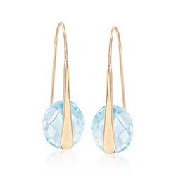 6.25 ct. t.w. Blue Topaz Drop Earrings in 14kt Yellow Gold, , default