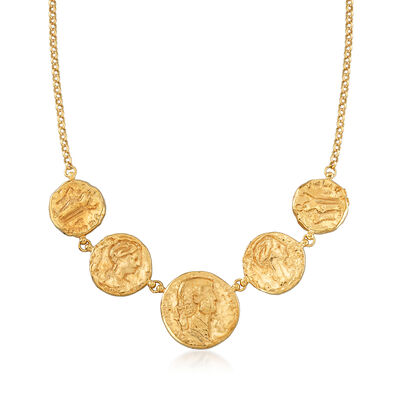 Italian 14kt Yellow Gold Ancient Coin Necklace, , default