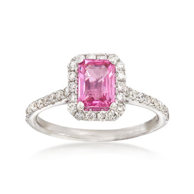 1.10 Carat Pink Sapphire and .50 ct. t.w. Diamond Halo Ring in 14kt White Gold, , default