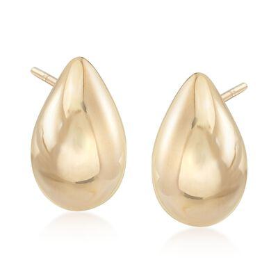 Italian 18kt Yellow Gold Puffed Teardrop Earrings, , default