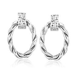 Italian 14kt White Gold Twisted Oval Doorknocker Earrings, , default