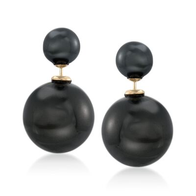 8-16mm Black Shell Pearl Front-Back Earrings in 14kt Yellow Gold