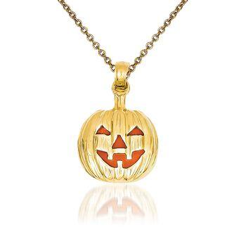 "14kt Yellow Gold Pumpkin Pendant Necklace. 18"", , default"