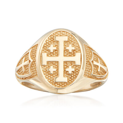 14kt Yellow Gold Multi-Cross Signet Ring, , default