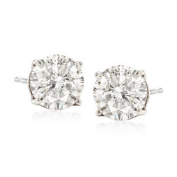 T W Cz Stud Earrings In 14kt White Gold Default
