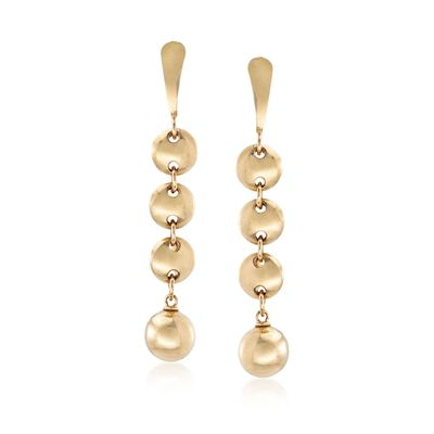 14kt Yellow Gold Circle and Bead Drop Earrings, , default