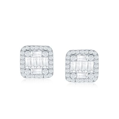 .85 ct. t.w. Baguette and Round CZ Square Stud Earrings in Sterling Silver, , default