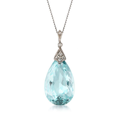 C. 1950 Vintage 36.00 Carat Aquamarine and .20 ct. t.w. Diamond Pendant Necklace in Platinum, , default