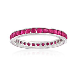 1.30 ct. t.w. Ruby Eternity Band in Sterling Silver, , default