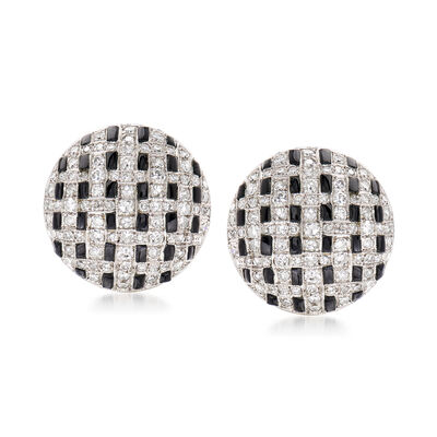 C. 1990 Vintage Black Onyx and 1.25 ct. t.w. Diamond Basketweave Earrings in Platinum
