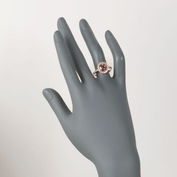 3.30 Carat Light Pink Topaz and .50 ct. t.w. CZ Ring in 14kt Rose Gold Over Sterling