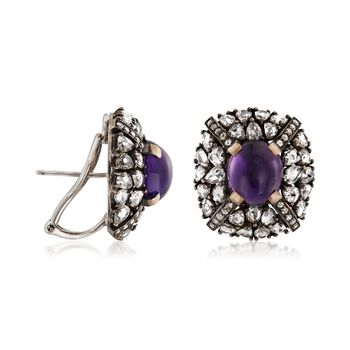C. 1990 Vintage 7.20 ct. t.w. Amethyst and 7.40 ct. t.w. Diamond Earrings in 18kt White Gold , , default