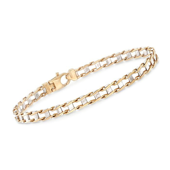 "Men's 14kt Two-Tone Gold Railroad Link Bracelet. 8.5"", , default"