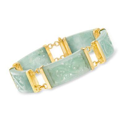 Green Jade Dragon Bracelet with 18kt Gold Over Sterling