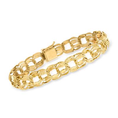 C. 1980 Vintage 14kt Yellow Gold Brushed and Polished Link Bracelet