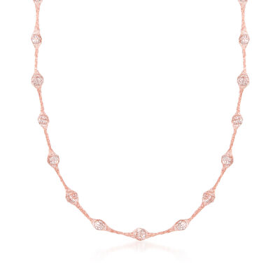 Italian 14kt Rose Gold Mesh Necklace With 5.25 ct. t.w. CZs, , default